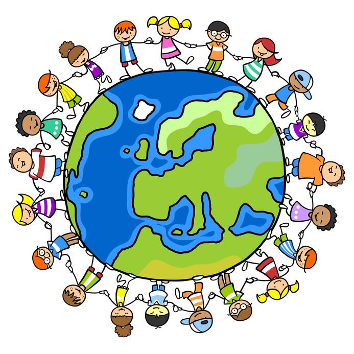 Kinder im Kreis auf einer Welt voll Frieden